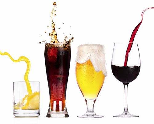 Collection of different images with alcohol isolated